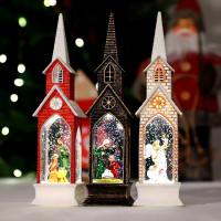 Pajangan Natal Lentera LED Snowglobe Kotak Salju Kado Gereja Katedral