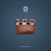 Batik Fractal Card Case Batik Motif Brown Kawung