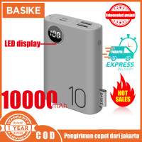 Power Bank Dual USB LCD BASIKE 10000 mAh Mini Murah Fast Charging 2 In