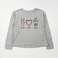 Baju kaos panjang anak perempuan branded original Justice abu 12 tahun