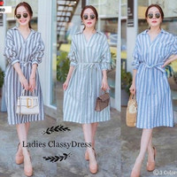 Ladies Classy Dress Casual Fashion Korea Import Baju Wanita Murah