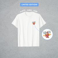Kaos Sloth Venir - Baju Basic T-shirt Pria/Wanita Murah Kaus Atasan - Putih, S