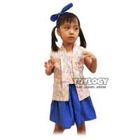 Grow Baju Kebaya Modern Anak - Setelan Baju Rok Jelantik- Blue Uk S
