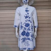 baju batik wanita dress/tunik batik cap motif encim modern - Putih, M
