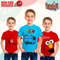 Baju Kaos Anak Cowok Laki - Laki Karakter Tayo Elmo Mickey Mouse