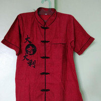Baju/Atasan Imlek Cheongsam Pria Dewasa/katun import merah maroon