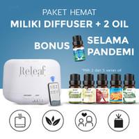 PAKET ESSENTIAL OIL DIFFUSER RELEAF FREE 2 OIL Difuser Humidifier - Paket Hemat
