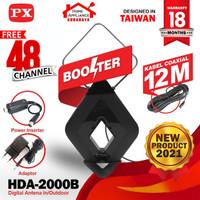 Antena TV Digital Analog Indoor Outdoor Booster+Kabel 12M PX HDA-2000B