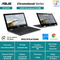 Chromebook Asus Flip C214MA 11.6 HD Intel N4020 - Chrome OS - 4/64GB - Non Stylus Pen