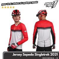Jersey sepeda STR Carbon lengan panjang X5 Cooltech Waffle