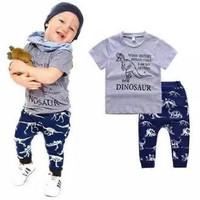 Wirles Setelan Dinosaur Baju Anak Laki-laki Usia 1-6 Tahun