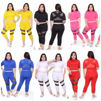 JUMBO setelan olahraga wanita senam yoga baju senam bigsize crop tile