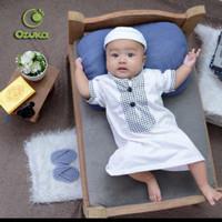 Baju Muslim Bayi Laki-laki Kaos Katun/ Baju Gamis Bayi by Ozuka - Putih, S