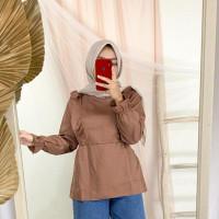 Blouse wanita Muslim Korea Tunik Atasan Wanita Baju Lengan Panjang