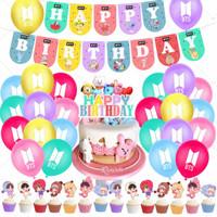 40pcs Balon Desain Kpop Bts Bt21 Bangtan Boy Untuk Dekorasi Pesta Ulan