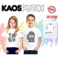 Kaos / Baju Anak Family Couple Number Block (Free Cetak Nama) - Kaos Putih, Size 0 (0-1THN)
