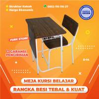 D14 Meja Kursi Siswa SD SMP SMA, Bangku Kuliah Rangka Besi, Minimalis