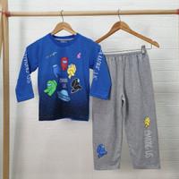 Setelan Baju Tidur Anak Laki Laki Katun Motif AMG Us Biru