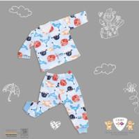 Setelan baju panjang bayi halus libby kancing depan | 3 setel - 0-3 Bulan, Summer Holiday