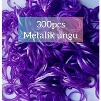 Karet Rainbow Loom dan Loom bands Isi 300 Pcs Metalik Ungu