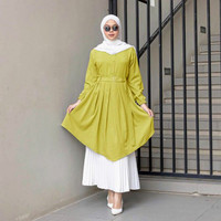 Baju Atasan Tunik Pakaian Muslim Remaja Wanita Terbaru All Size pink - Lemon, all size