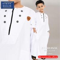 Baju Jubah Gamis Anak Laki Laki 5-14 Tahun Kawan Muslim Bahan Adem - Putih, 2-3 tahun