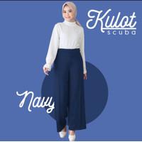 Celana Wanita Kulot Scuba Premium Tebal dan Tidak Trawang Navy