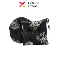 Paket Couple Black Montsera, Bantal Duduk Kotak & Bulat Premium