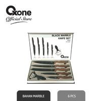 Oxone OX605 Pisau Set Tajam Black Marble Knife Set Dengan Pengupas