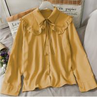 Jeni top atasan blouse wanita lengan panjang bahan twiscone size fit L