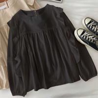 Baju Saka blouse wanita top polos lengan panjang bahan twiscone size L