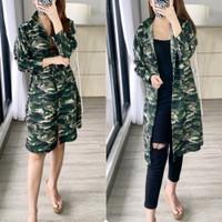 Cherlen Army Loreng Long Top Baju Kemeja Wanita Shirt 5500