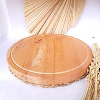 Wood Telenan Kayu Mahoni Cutting Board Serving Natural Unik 30x30x3 cm