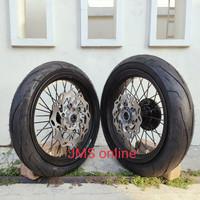 Sepaket Velg Supermoto Super Moto Klx 150 D-Tracker Ring 14 Plus Ban