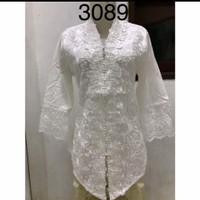 Baju Kebaya Encim Putih Brukat Import 3089