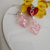 Anting gantung - REFLECTIONS + crystal n swarovski pearl - handmade