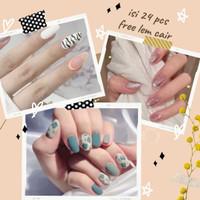 Parsel Ramadan Coffin Matte Fake Nails Kuku Palsu Polos French R112
