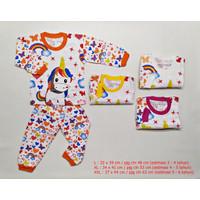 Setelan Baju Tidur Panjang Anak Perempuan Unicorn 3 - 6 Tahun Katun