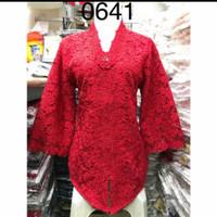 Baju kebaya brukat merah alexuez 0641 - Merah, S