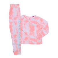 Justice Girls 2 Piece Henley Tie Dye Sleepwear Peach - Baju Tidur Anak