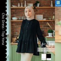 Baju Atasan Top Blus Wanita Cewek Muslim Muslimah Unik Kasual Yona 18 - Broken White, XS