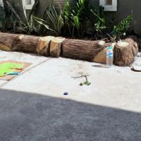 pembatas taman motif batang kayu/mtr