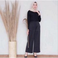 Celana Panjang Wanita Kulot Scuba Premium Tebal Halus dan Tebal Grey