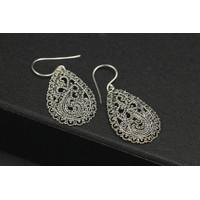 Silver Earring / Anting Perak Model Unique Bun Jawan Teardrop design