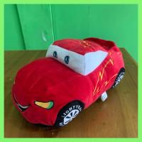 Boneka Mobil Cars Mcqueen Ukuran M Panjang 35cm Berlabel SNI - Merah, M