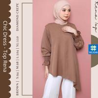 Baju Atasan Top Blus Wanita Cewek Muslim Muslimah Kerja Cantik Rena 19 - Brown, S