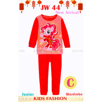 Baju Tidur Piyama Anak Perempuan Lengan Panjang Unicorn Merah 2-7 th