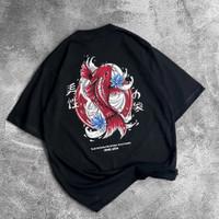 Kaos oversize Streetwear lengan pendek baju gambar Red Koi