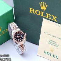 Jam tangan wanita ROLEX size kecil kombinasi rosegold bisa cod - hitam R silver