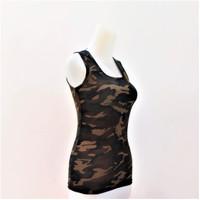 Baju Atasan Olahraga Dalaman Wanita T-shirt Distro Rayon Spandek - Loreng army, All Size